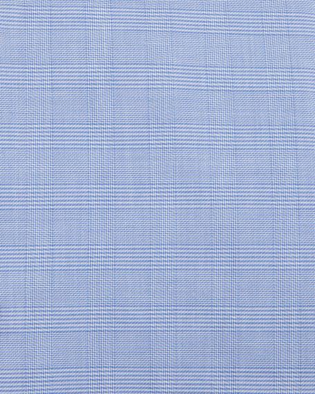 Plaid Slim-Fit Travel Dress Shirt, Blue