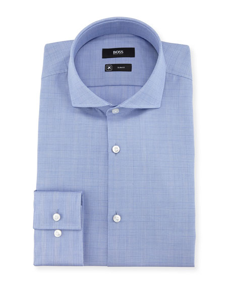 Plaid Slim-Fit Travel Dress Shirt, Blue