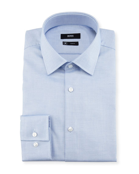 BOSS Textured Solid Slim-Fit Travel Dress Shirt, Light