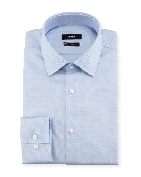 BOSS Textured Solid Slim-Fit Travel Dress Shirt, Light