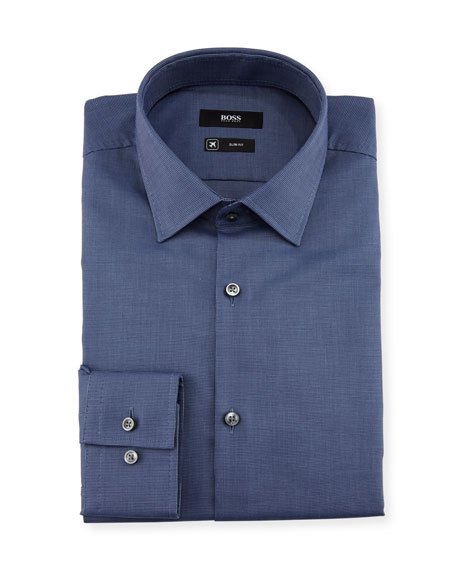 BOSS Textured Solid Slim-Fit Travel Dress Shirt, Navy
