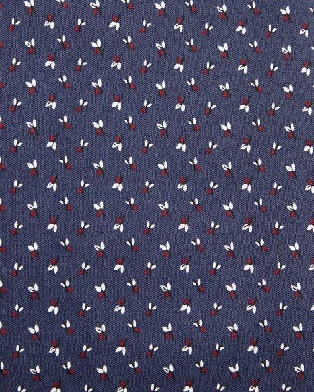 Leaf-Print Slim-Fit Dress Shirt, Navy