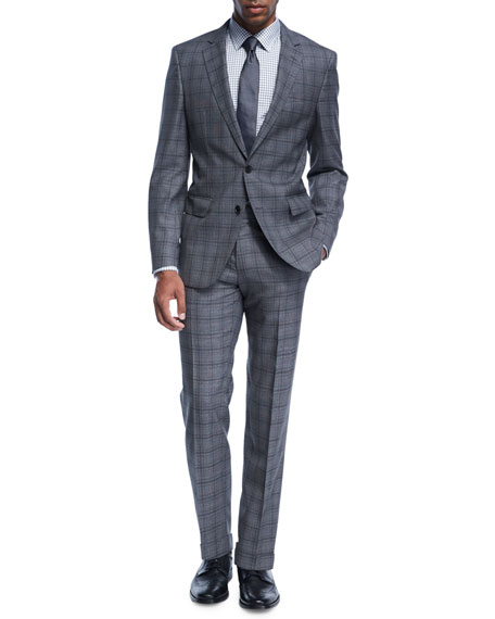 Double-Windowpane Melange Wool Two-Piece Suit