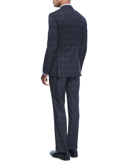 Plaid Natural-Stretch Wool Two-Piece Suit