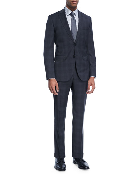 BOSS Plaid Natural-Stretch Wool Two-Piece Suit