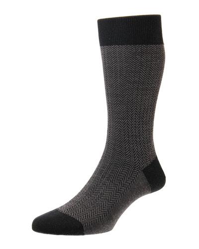 Finsbury Herringbone Dress Socks