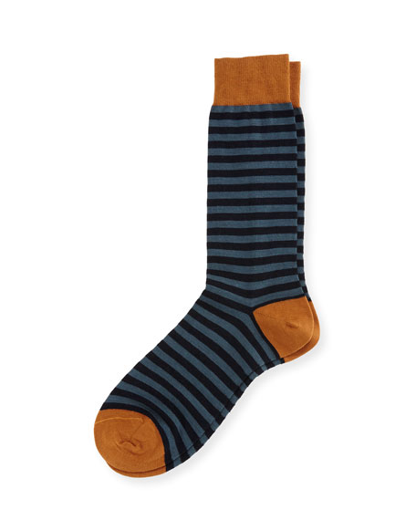 Pantherella Harrow Striped Half-Calf Dress Socks