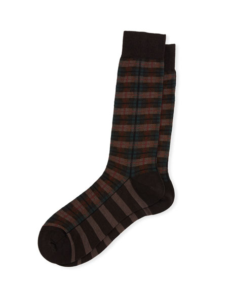 Pantherella Chadwell Check Half-Calf Dress Socks