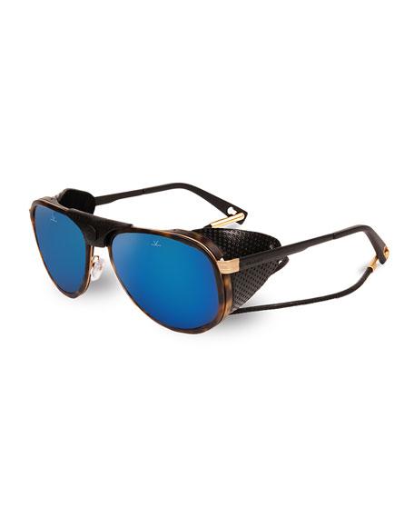 Vuarnet Glacier 1957 Pilot Sport Sunglasses, Black/Tortoiseshell/Blue