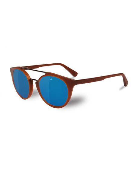 Vuarnet Cable Car Round Polarized Sunglasses, Light Brown