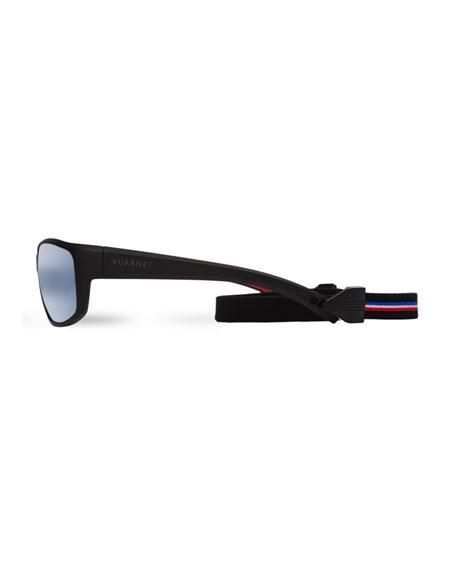 Cup Large Rectangular Active Polarized Sunglasses, Black/Blue