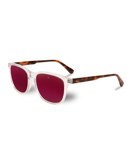 Vuarnet District Square Sunglasses, Crystal/Tortoiseshell/Purple
