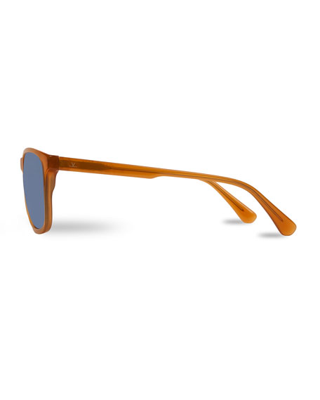 District Square Polarized Sunglasses, Red Amber/Blue