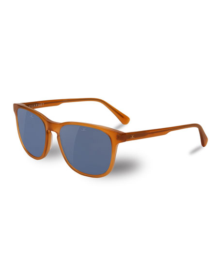 Vuarnet District Square Polarized Sunglasses, Red Amber/Blue