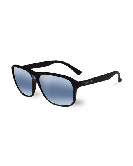 Vuarnet 03 Acetate Pilot Polarized Sunglasses, Black