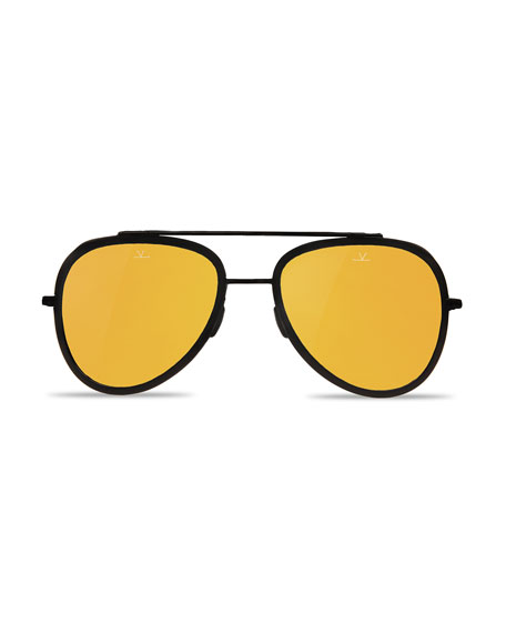 Edge Stainless Steel & Acetate Pilot Sunglasses, Black/Bronze
