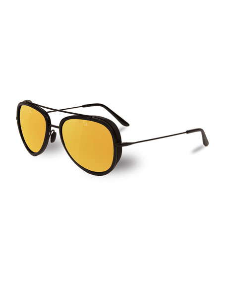Edge Stainless Steel & Acetate Pilot Sunglasses, Black/Bronze