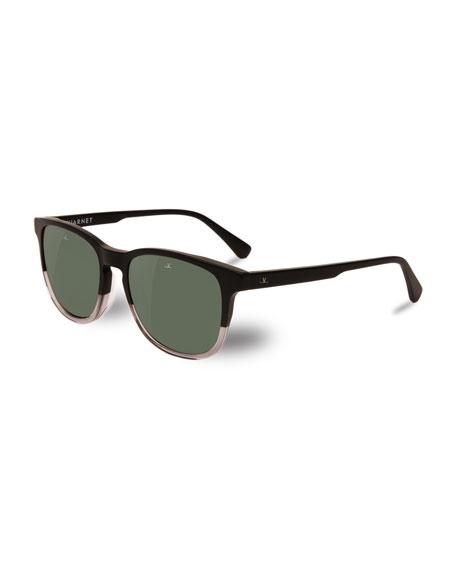 Vuarnet District Two-Tone Square Polarized Sunglasses, Black/Crystal
