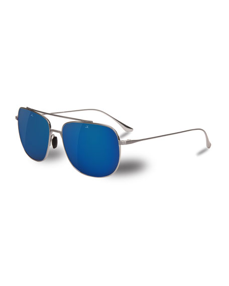 Vuarnet Swing Titanium Rectangular Aviator Sunglasses, Silver/Blue