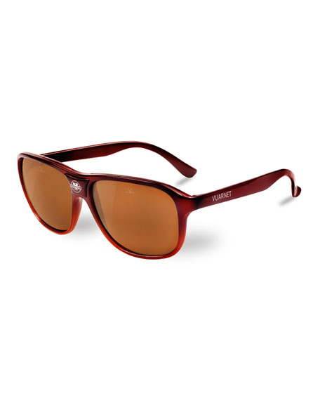 Vuarnet 03 Acetate Pilot Polarized Sunglasses, Brown
