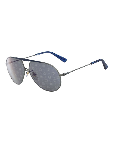MCM Visetos Aviator Sunglasses with Bar, Light Gray