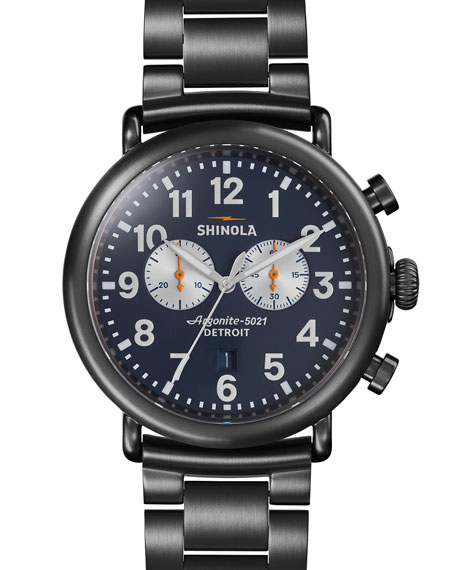 Men's 47mm Runwell Chronograph Watch, Navy