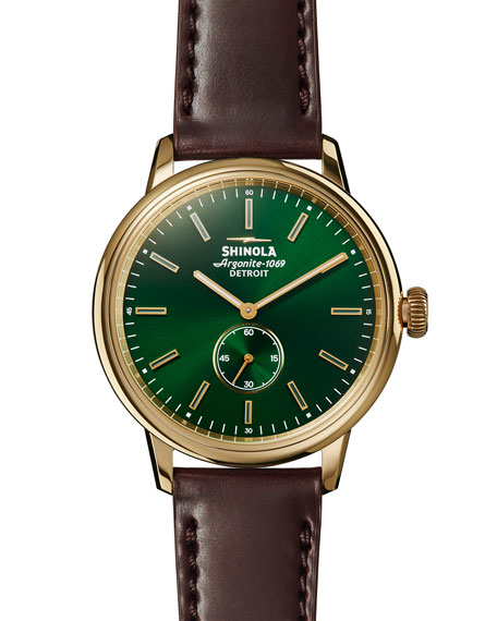 Shinola 42mm Bedrock Chronograph Watch, Forest Green/Oxblood/Golden