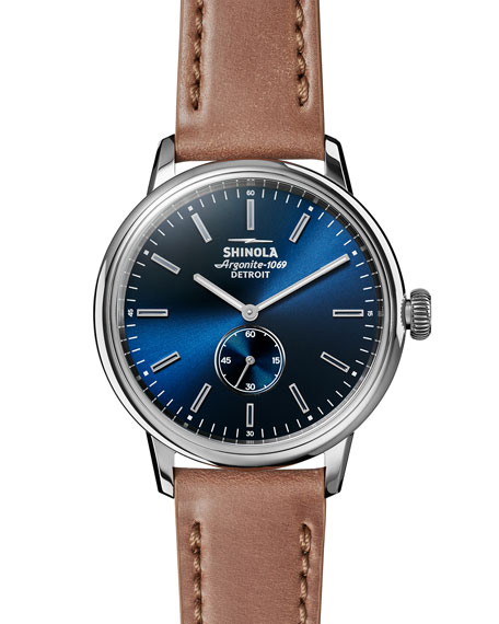 Shinola 42mm Bedrock Chronograph Watch, Midnight Blue/Natural