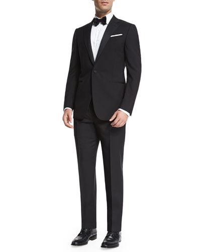 Satin Notch-Lapel Wool Tuxedo, Black