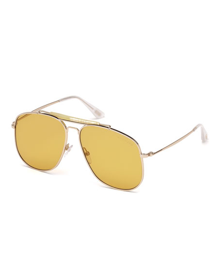 TOM FORD Connor Runway Aviator Sunglasses, Shiny Rose