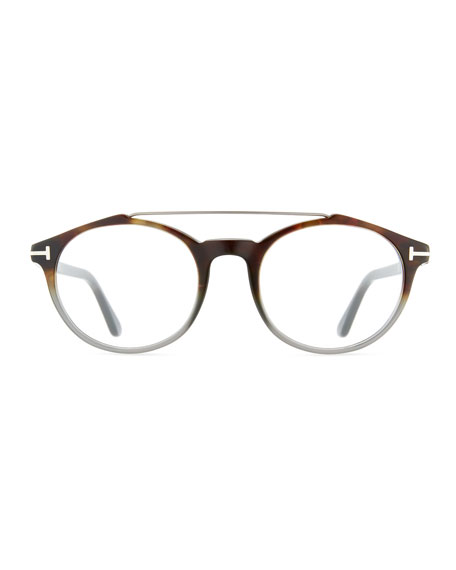 Round Acetate Optical Frames with Brow Bar