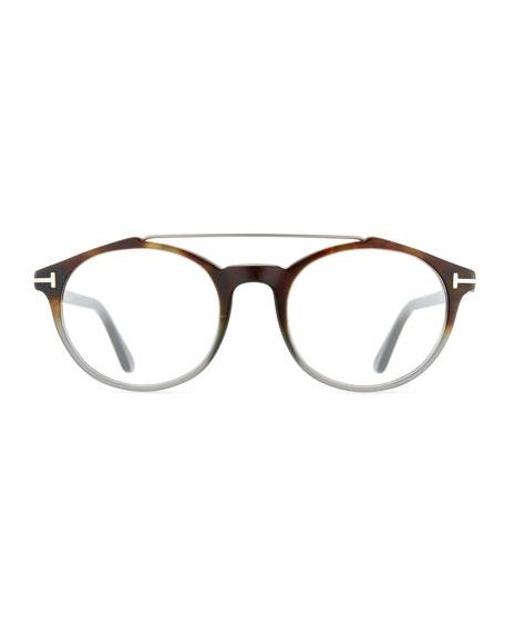 Round Acetate Optical Frames with Brow Bar