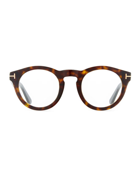 Soft Rounded Acetate Optical Frames, Dark Havana Black