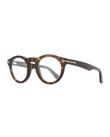 Soft Rounded Acetate Optical Frames, Dark Havana Black