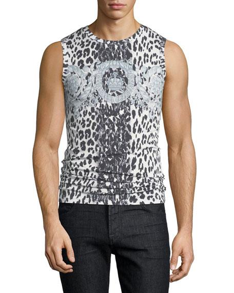 Versace Leopard-Print Baroque Tank Top