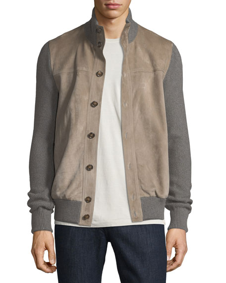 Cashmere Cardigan Bomber Jacket with Suede Front