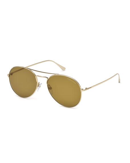 TOM FORD Ace Metal Pilot Sunglasses, Rose Golden/Brown