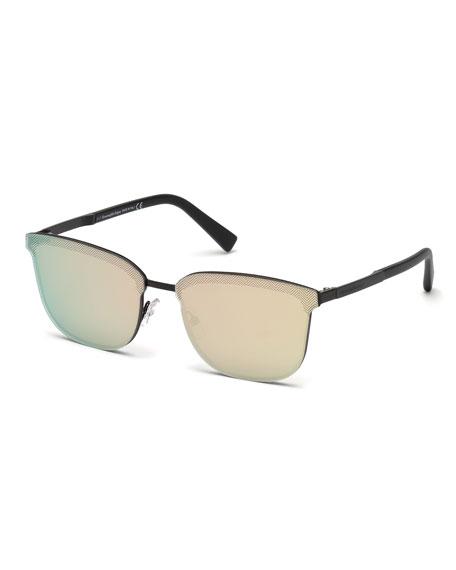 Ermenegildo Zegna Rectangular Chevron Sunglasses, Matte