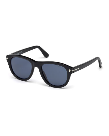 Benedict Soft Square Sunglasses, Shiny Black/Blue