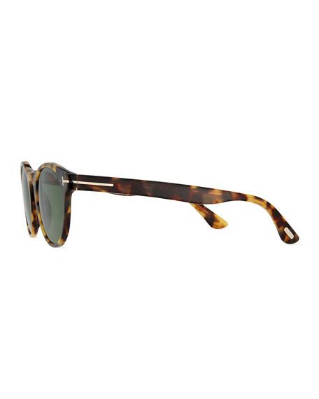 Palmer Round Acetate Sunglasses, Shiny Tortoise/Green