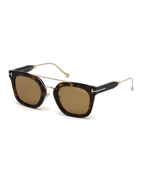TOM FORD Alex Acetate & Metal Square Sunglasses,
