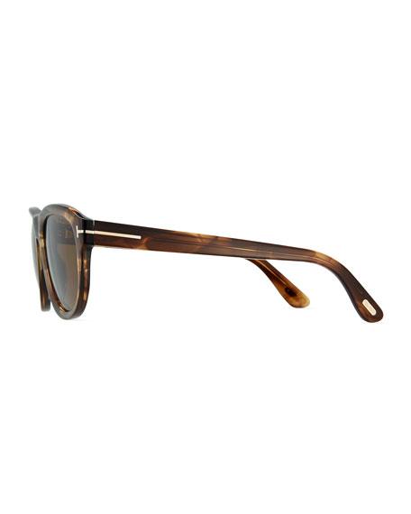 Benedict Polarized Soft Square Sunglasses, Shiny Striped Brown/Brown