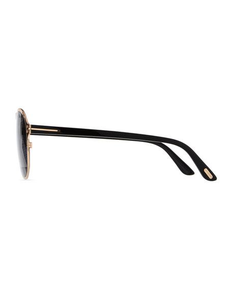 Bradbury Metal Aviator Sunglasses, Shiny Rose Gold/Shiny Black/Smoke