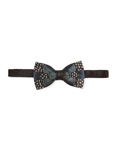 Guinea & Pheasant Feather Bow Tie