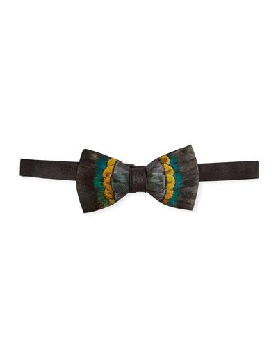 Multicolor Feather Bow Tie
