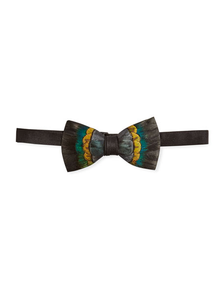 Multicolor Feather Bow Tie