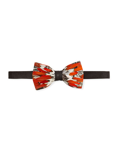 Lady Amherst Feather Bow Tie
