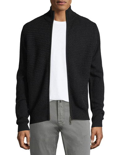 Basketweave Cashmere Zip-Front Cardigan