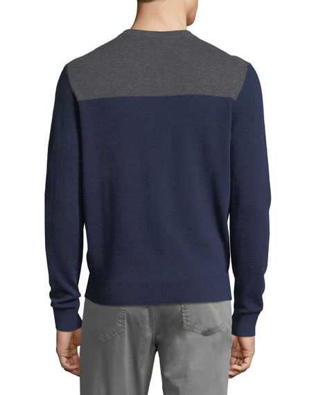 Paneled Cashmere Crewneck Sweater