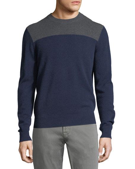 Neiman Marcus Paneled Cashmere Crewneck Sweater